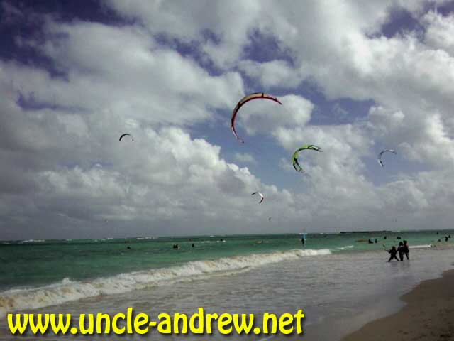 Kiteboarders and Kayakers