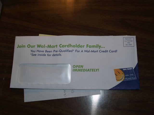 Mal*Wart Credit Card envelope